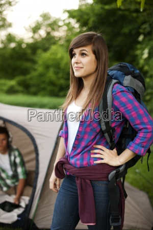 beautiful female hiker