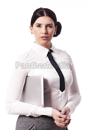 portrait of beautiful businesswoman with digital
