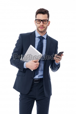 handsome young businessman with a digital