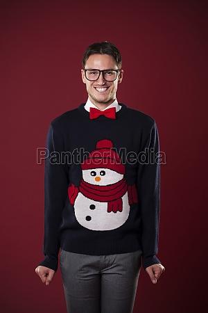 portrait of funny man wearing sweater