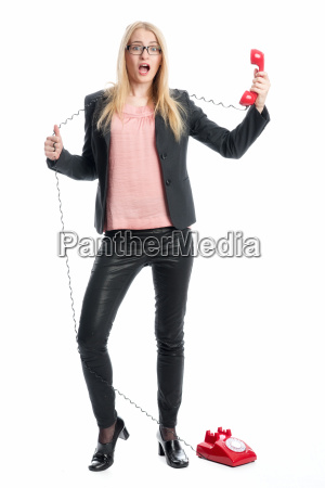 businesswoman on the phone handset
