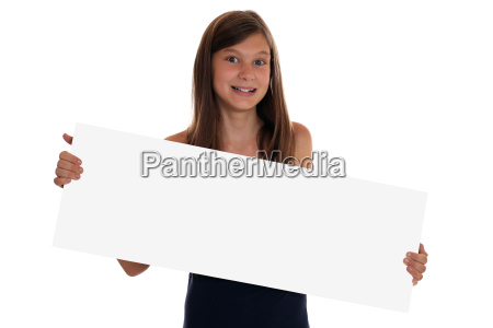 young girl with empty banner and