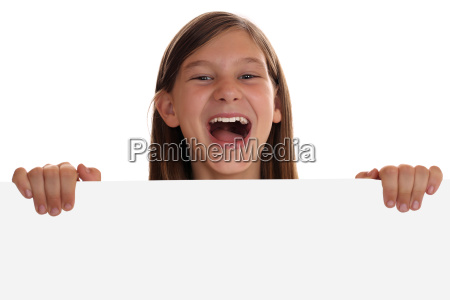 young girl has fun with empty