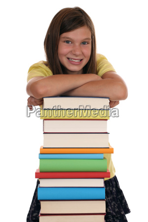 laughing girl and a stack of