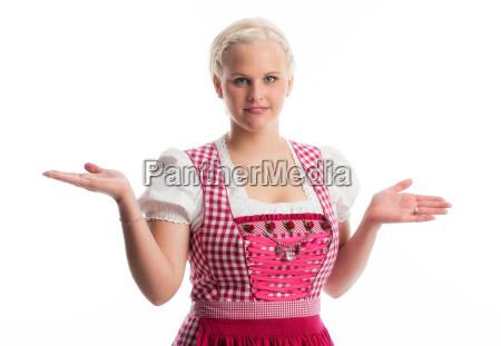 chica, bávara, muestra, su, dedo - 12210382