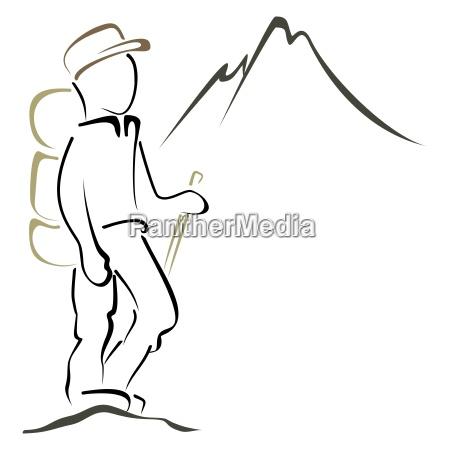 montanyas paisaje naturaleza excursionista logo