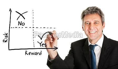 hombre de negocios dibujando un diagrama