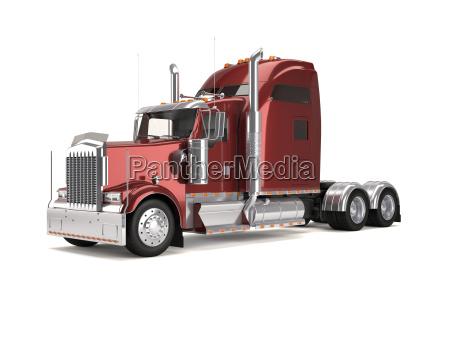 liberado americano aislado camion pesado rojo
