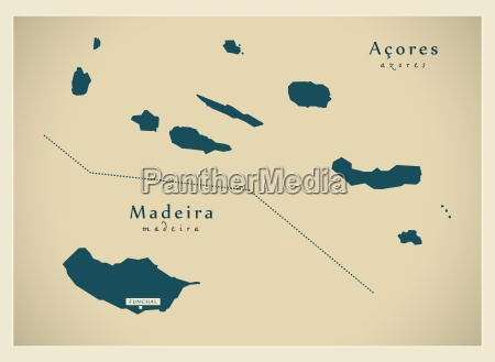 mapa moderno acores y madeira