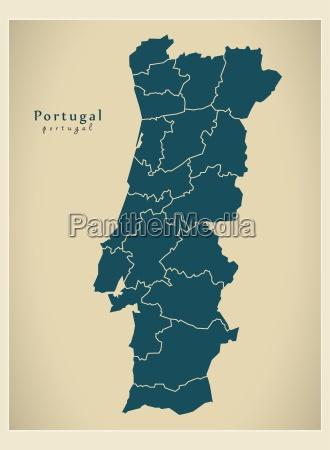 mapa moderno distritos de portugal