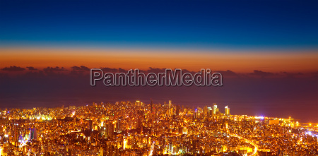 bird eye view of night cityscape
