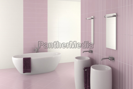 banyo moderno color purpura con doble