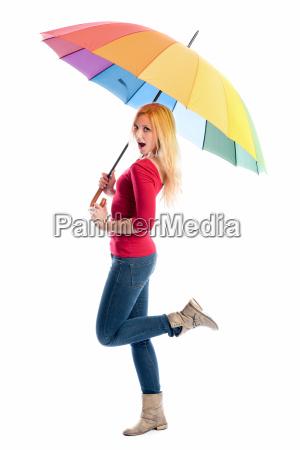 mujer, con, paraguas - 12624938