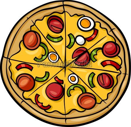 ilustracion de dibujos animados de pizza