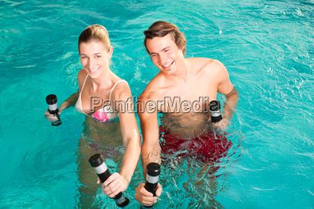 fitness gymnastics under water in