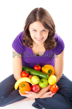 dieta sana mujer con manzanas y