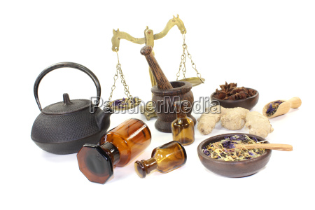 chinese medicine with herbs and libra