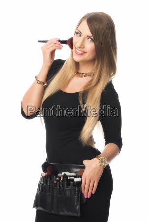 woman cosmetics beauty care rouge beautician