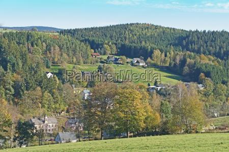 casas bosque sajonia erzgebirge pueblo paisaje