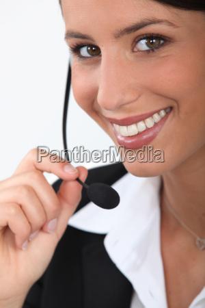 primer plano de una telefonista