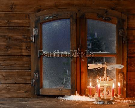 saludos invierno ventana madera noche cosecha