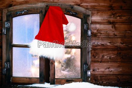 saludos fiesta ventana madera sombrero advenimiento