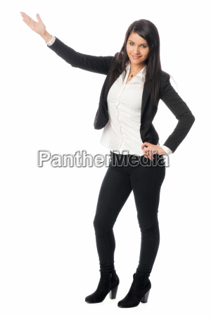 young woman is holding presentation