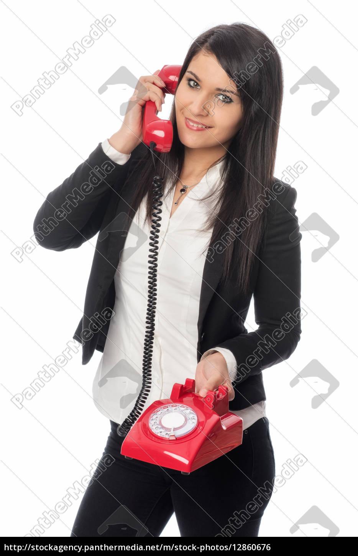 junge, frau, telefoniert - 12860676