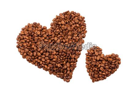 corazones de granos de cafe