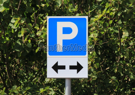 parking, sign, with, two, black, direction - 12884484