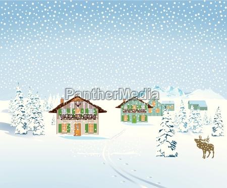 paisaje nevado con casas
