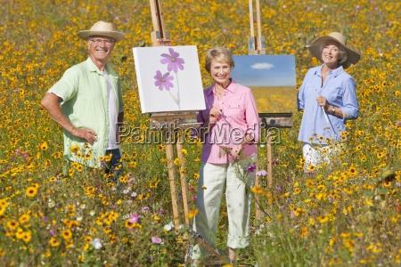 retrato de sonriente ancianos pintura en