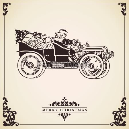 santa claus driving a car christmas