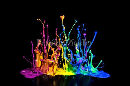 salpicaduras de pintura de colores sobre