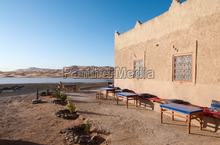 bedouin camp and oasis in the