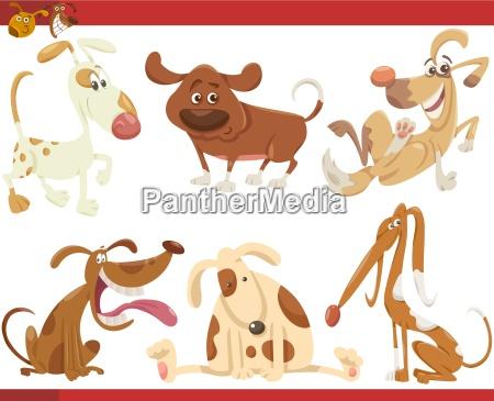 happy dogs dibujos animados conjunto
