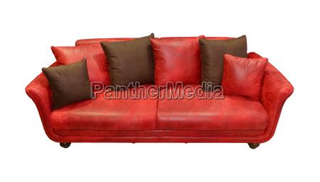 sofa de cuero rojo