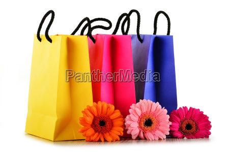bolsas de papel coloridas de compras