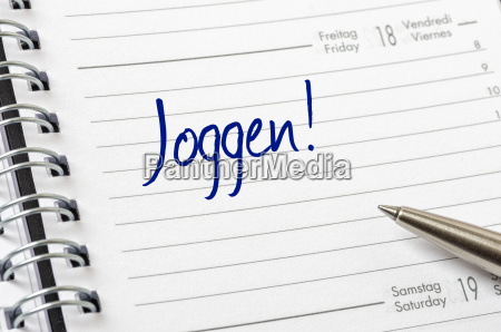 schedule with the entry jogging