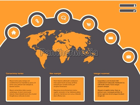 simple website design with world map