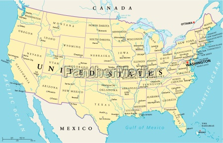 mapa politico de los estados unidos