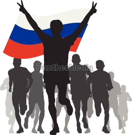 ganador con la bandera de rusia