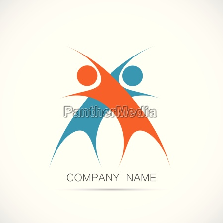 abstract teamwork design logo