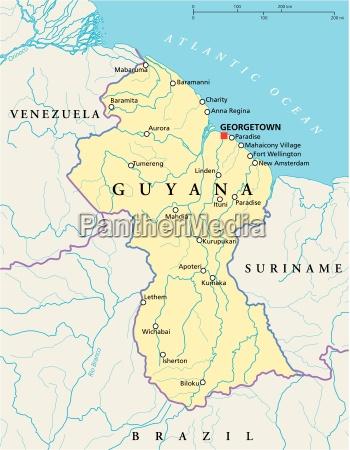 mapa politico de guyana