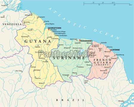 guyana suriname y guayana francesa mapa