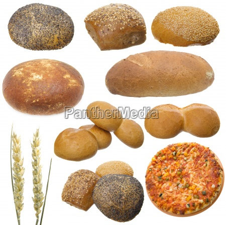 conjunto de pan aislado en un