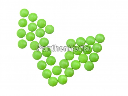green tablets in arrow formation isolated