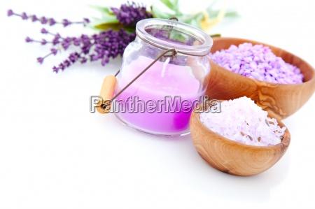 lavender bath salt isolated on white