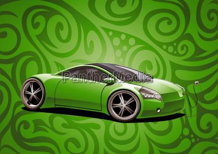 sports car green ecomobile pattern big