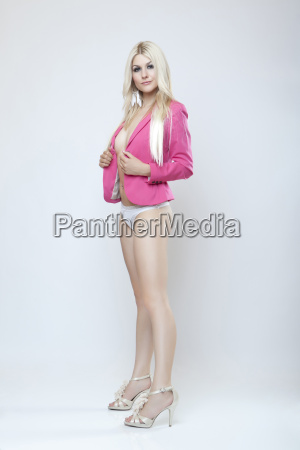 attractive blonde girl in jacket